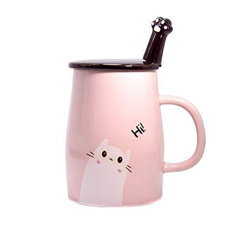 Binoster Tasse de Chat Mignon Tasse à café en céramique avec Minou Cuillère en Acier Inoxydable, Salut ~ Nouveauté mug Cadeau pour Les Amoureux des Chats Rose Cadeau fête des mères (Rose)