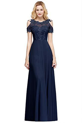Misshow Robe de Soirée Vintage Longue avec Manche Chic Elégante avec Appliques Dos Floral Ajourée en Ligne A Bleu Marine 32