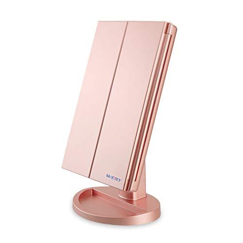 WEILY Miroir de Maquillage, 1x / 2X / 3X Miroir de Maquillage à Trois Volets avec 21 lumières LED et Miroir réglable à écran Tactile Miroirs de comptoir cosmétiques(Or Rose)