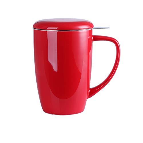 LOVECASA, Tasse à Thé avec Infuseur en Porcelaine, Mug avec Filtre en Acier Inoxydable, 450 ML Tasse avec Couvercle- Rouge
