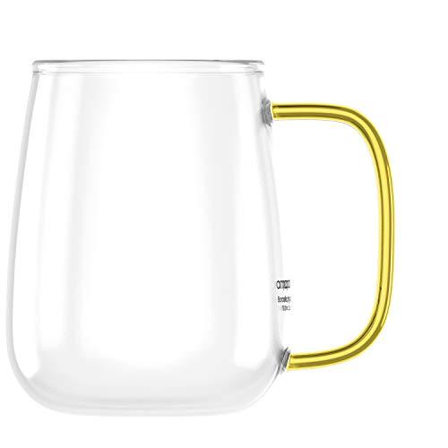 amapodo Grande tasse à café en verre avec anse - 700 ml - Sans plastique - Cadeau pour homme et femme
