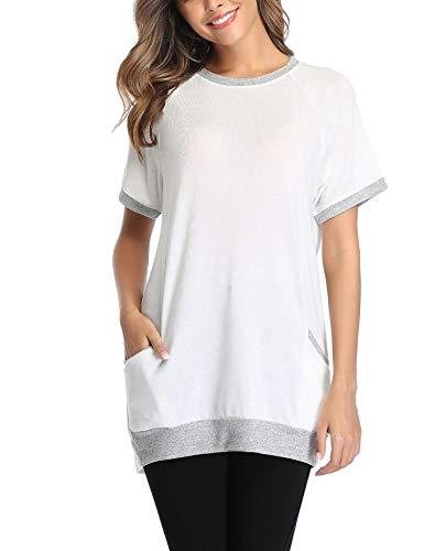 Sykooria T-Shirt Femme Long Été à Col Rond Ample avec Poches Top Long de Sport à Manches Courtes en Coton Casual Tee Shirt Top Tunique Femme