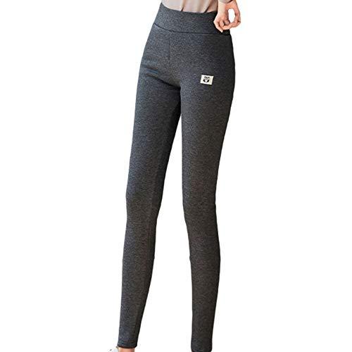 FeelFree+ D'hiver Leggings pour Femmes, Extensible Thermique Collant Extensible Pantalon de Crayon Chaud Automne Hiver, Noir et Gris