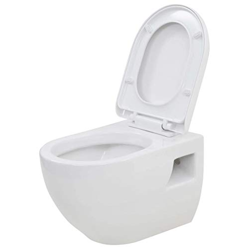 vidaXL WC Suspendu en Céramique Blanc Salle de Bains Cuvette de Toilette