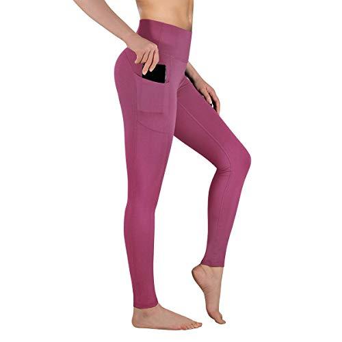 Gimdumasa Leggings de Sport Femmes Pantalon de Yoga Leggins avec Poches Yoga Fitness Gym Pilates Taille Haute Gaine GI188 (Begonia Rose, XS)