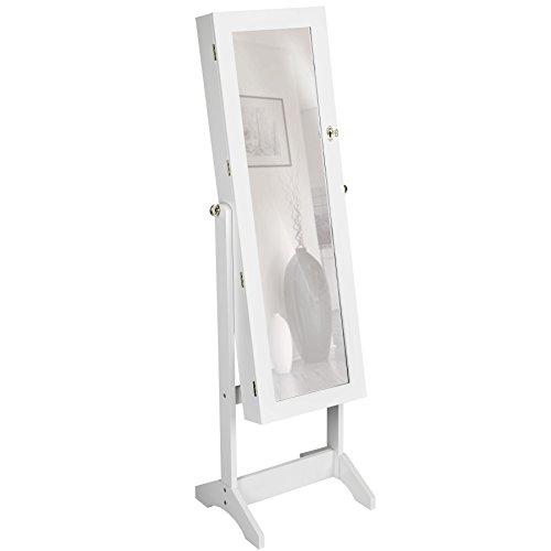 TecTake Armoire à Bijoux avec Miroir sur Pied - diverses Couleurs au Choix - (Blanc | no. 400764)