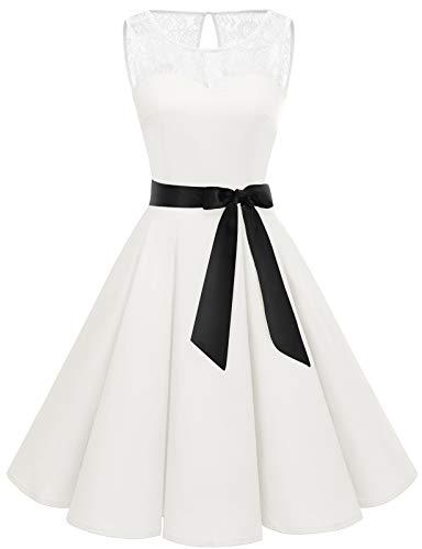 Bbonlinedress Robe Vintage rétro 1950s Audrey Hepburn de Soirée Cocktail années 50s Rockabilly avec Dentelle All White XS
