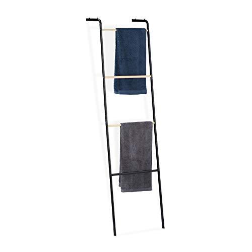 Relaxdays Échelle Porte, 4 barres, métal, rangement serviettes vêtements, HxlxP: 160x40x26 cm, noir, fer, One size