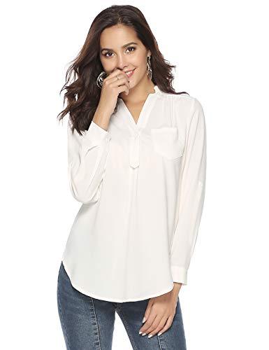 Chemisier Femme Col V Blouse Haut Manches Longues Tunique Ample Fluide Élégant Mousseline de Soie Chic Casual Vintage, Blanc, S