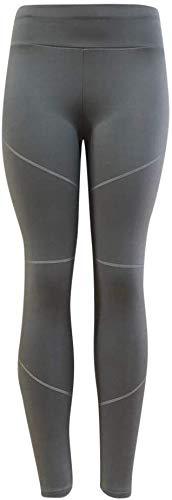 Hxuli Fabletics Legging pour femme Coupe slim Fit Rayures leggings pour le sport Élastique Yoga Pantalon de fitness à rayures fines Pantalon de jogging Enge Blanc XL gris