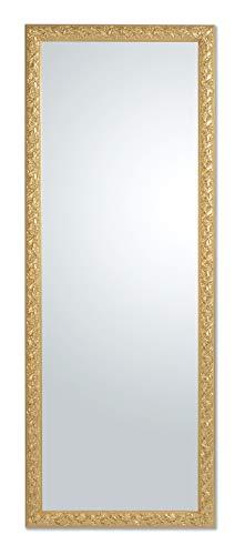 MO.WA Miroir Mural Classique Baroque avec Cadre en Bois doré à la Main. Mesure extérieure Cm. 55x145, Vertical et Horizontal. Fabriqué en Italie
