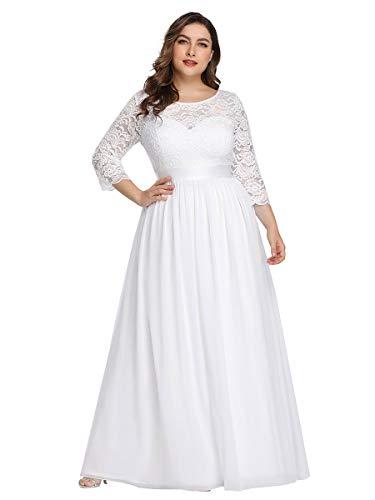 Ever-Pretty Robes de Soirée Femme Grande Taille Longue Manches 3/4 en Dentelle 07412PL