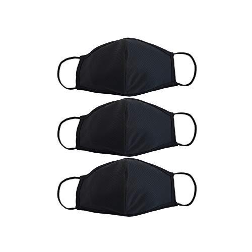 EnerPlex Prime 3 Plis Masque Réutilisable Disponible En Plusieurs Tailles - Confort Respirant, Masque De Sécurité, Lavable Entièrement Machine|Noir|Large (Fits La plupart des adultes)