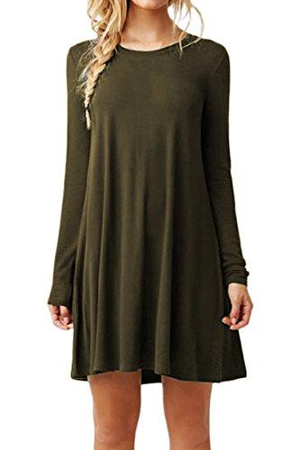 YMING Femme Robe Tee Shirt Robe Tunique Robe Manches Longues Robe Mini Robe Armée Vert XXS
