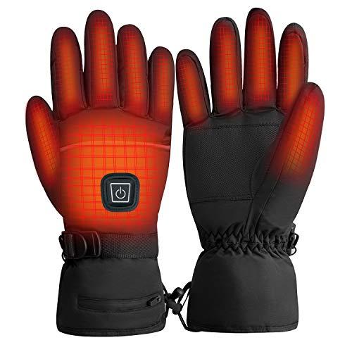 Rishaw Gants Chauffants Rechargeables, 3.7V 4000mAh 3 Modes de Chauffage, Gants Chauds d'hiver Imperméables à écran Tactile, Adaptés à la Moto, au Ski et à d'autres Activités de Plein Air (M)