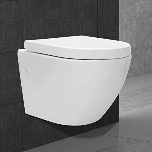 ECD Germany Toilette Cuvette WC Suspendu sans Monture en Céramique Sans Rebord pour Toilettes à Fond Creux - Amovible - Lavage en Profondeur - Blanc - avec Soft Close Couvercle Siège de Toilette