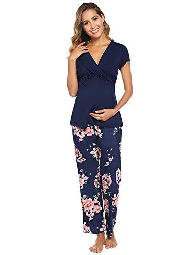 Zexxxy Pyjama en Coton pour manternité Femmes Pyjama à Manches Courtes avec Nursing Funtion Vêtement de Nuit Bleu Marine-Floral S