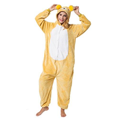 Katara 1744 - Grenouillère Combinaison pour Adultes Tenue de Nuit Pyjama Kigurumi - Taille L 165-175cm Ours Rilakkuma