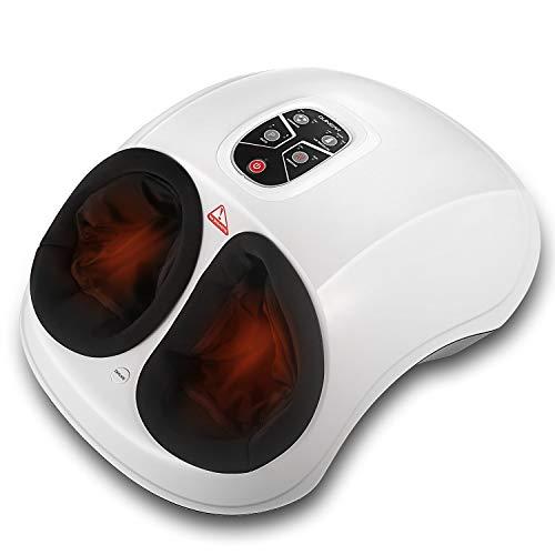 QNINEAR Appareil Massage Pied Masseur Shiatsu Chauffant Masseur des Pieds, Électrique de Massage avec 2 Modes 6 d'Air Intensité 2 Fonction Chaleur, Blanc