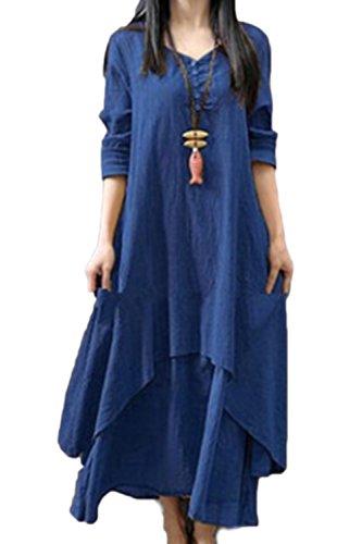 Zilcremo Femme Robe Longue Boheme Ete Tunique Grande Taille Ethnique Coton Lin Kurta Boho Vintage Robes