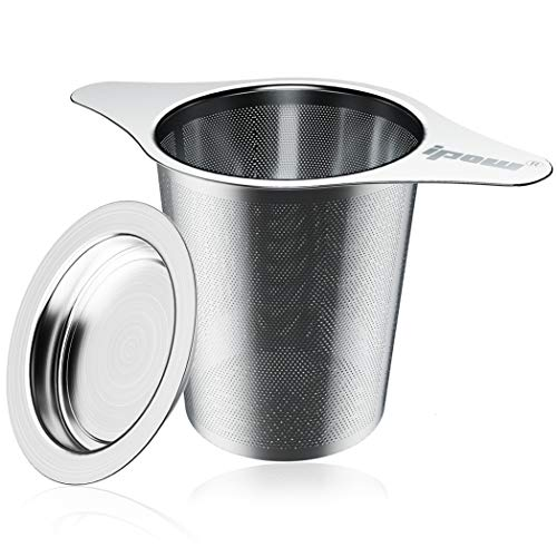 IPOW Filtre à Thé à 2 Languettes avec Couvercle/Infuseur à Thé à Trous Fins en Acier Inoxydable, pour Théière/Tasse/Mug/Verre- 6.9cm x 7.6cm