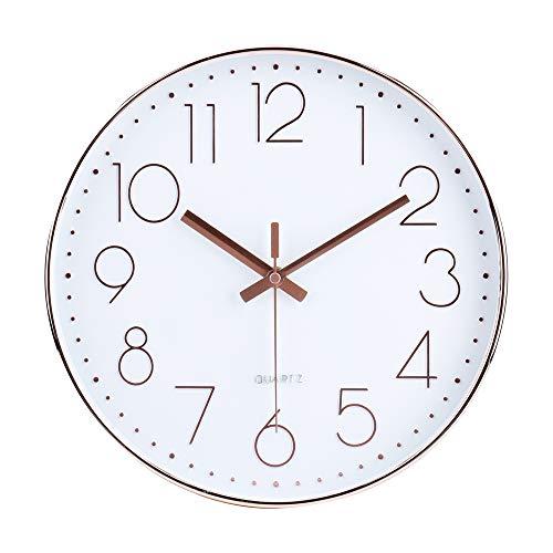 jomparis 30 CM Silent Non-Ticking Grande Horloge Murale silencieuse sans tic tac décorative pour Cuisine Salon Chambre Bureau (Or Rose)