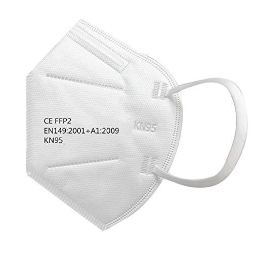 25 pièces KN95 Masques FFP2 Masques Masque respirant et confortable pour bloquer la poussière de pollution atmosphérique