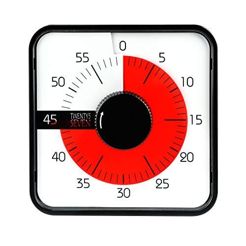 19 cm Minuteur à rebours, minuteur visuel, minuteur d'examen, minuteur de cuisine, pour enfants et adultes,salle de classe, devoirs, jeux, cuisine, bureau, réunions, bureau, réunions, noir