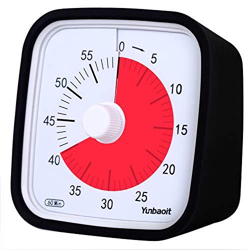 Yunbaoit Pro Version Minuteur Analogique 60 Minutes,Outil de Gestion Visuelle du Temps pour Cuisine, Bureau, Maison et École, sans Tic-Tac, Alarme Sonore en Option (Noir)