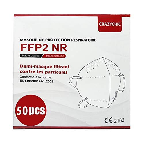 CRAZYCHIC - Masque FFP2 NR - Norme CE EN149 - Masque de Protection Respiratoire Certifié - Haute Filtration - Stock France Livraison Rapide - Boîte 50 pièces