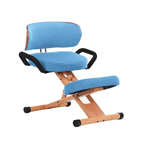 Chaises avec Repose-Genoux Ergonomique Genoux Chaise De Bureau Chaises, Tabouret Orthopédique, Haut Réglable, avec Dossier, avec Poignée (Color : Light Blue)