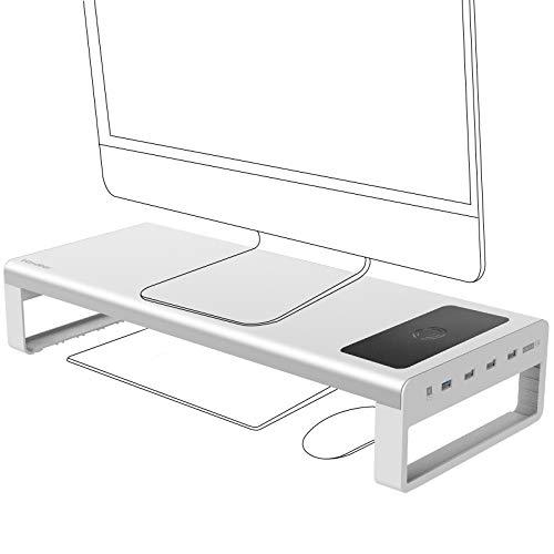 Vaydeer Support de Moniteur PC avec Chargement sans Fil et USB 3.0 Rehausseur Ecran en Aluminium, Support de Support Écran Ordinateur en Métal jusqu'à 32' pour PC, Ordinateur Portable - Argenté