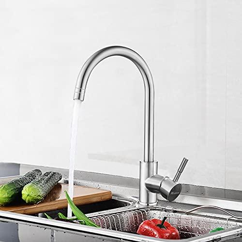 Housfurd Robinet de Cuisine en Acier Inoxydable 304, avec Rotatif à 360° Mitigeur Cuisine et Chaude et Froide Réglable Robinet, Deux Modes de Sortie D'eau - Grand robinets d'arc