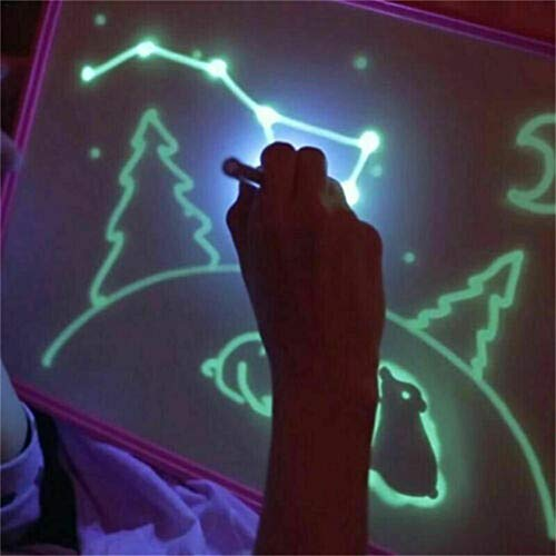 Tablette Lumineuse enfant ardoise magique pad Drawing Board Set Magic Draw Avec La Lumière Enfants bebe Écriture Éducatif Peinture Jouet(A3)