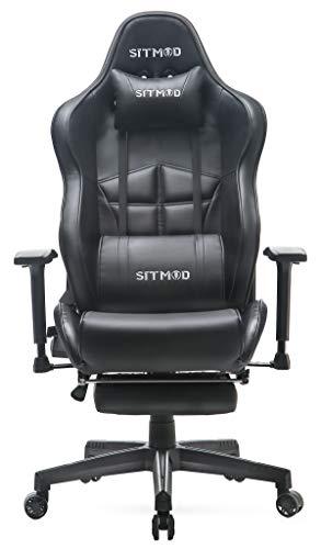 SITMOD Chaise Gaming Fauteuil Gamer Ergonomique Cuir PU Chaise Racing avec Massage, Inclinable Grande Taille Fauteuil pour Bureau Broderie Lumineuse Chaise de Jeu avec Repose Pied,Noir