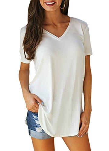 Romacci Nouveau Mode Femmes T-Shirt Solide V Cou À Manches Courtes Ourlet Longue Partie Causal Tops,Blanc,S