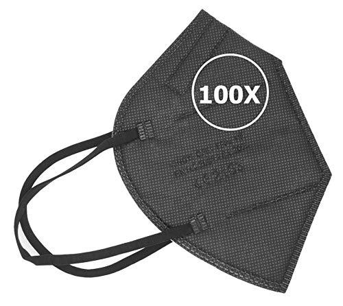 TBOC Masques FFP2 - [Pack 100 Unités] Masques Jetables [Noir] 5 Couches [Non Réutilisable] Pliable Respirant avec Pince-Nez [Certifié et Approuvé CE 2163] Qualité Premium