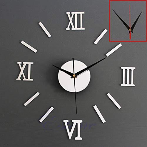 YO-HAPPY Moderne Bricolage intérieur Horloge Murale Romaine Horloge Murale 3D Autocollant Effet Miroir à la Maison