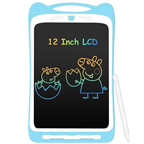 Tablette d'Ecriture Enfant 12 Pouces LCD, AGPTEK Ardoise Magique Coloré Planche à Dessin Ecriture Sans Papier, Tablette Graphique Numérique Effaçable avec Style/Bouton de Verrouillage-Bleu