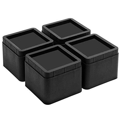 Uping Rehausseur Pieds de Lit Rehausseurs de Meuble, Augmenter Hauteur Réglable de 5CM ou 10CM (Noir)