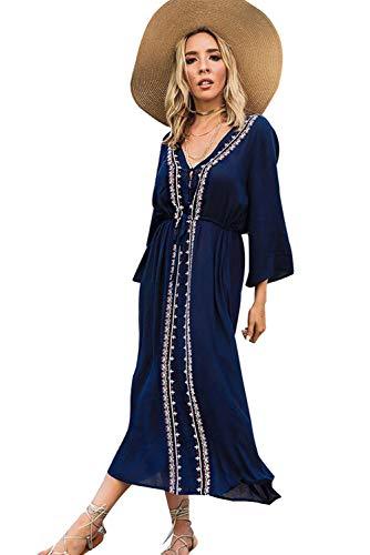 Landove Tunique Longue Femme été Grande Taille Boheme Chic Robe Imprime Ethnique