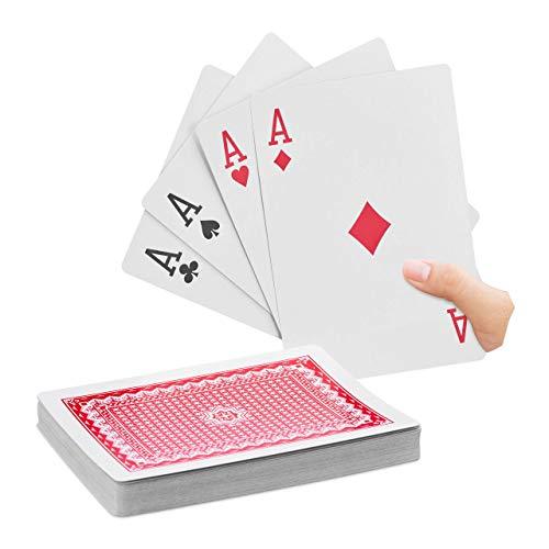 Relaxdays Cartes de Poker Jumbo, Jeu de 54, Accessoire de Casino en Plastique XXL, Amusant ou déco, 18 x 13 cm, coloré, 10023627, Multicolore