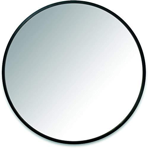 UMBRA Hub Mirror. Miroir mural rond Hub. Contour en caoutchouc noir. Diamètre 61cm, épaisseur 2cm.
