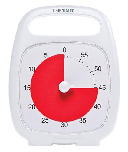 Time Timer PLUS 60 Minute Minuterie analogique visuelle (blanche) signal en option (molette de contrôle du volume) Pas de coche fort; Outil de 'Time Management'