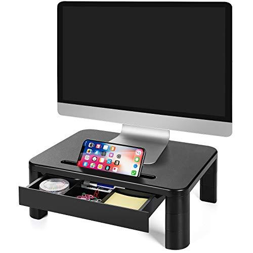 LORYERGO Support de Moniteur avec 3 hauteurs réglables Rehausseur Ecran Poids max 20KG pour moniteur de PC ordinateur portable imprimante bureau de moniteur avec organiseur de rangement -Plastique