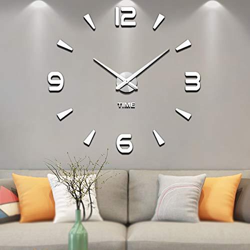 Vangold Moderne Mute DIY Frameless Grand 3D Horloge Murale Miroir en Métal Autocollant Grand Montres Home Office Décorations (argenté-73)