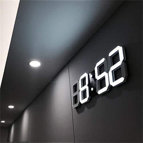 Thumbgeek Horloge murale 3D à LED, réveil numérique moderne pour la maison, la cuisine, le bureau, la table de chevet, horloge murale, affichage 24 ou 12heures