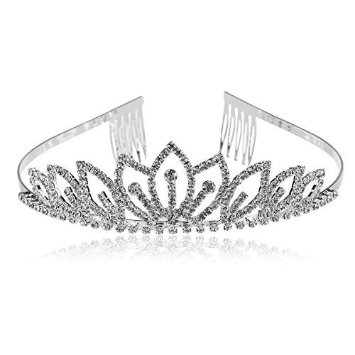 ROSENICE Diadème Couronne avec Peigne à Cheveux Serre-tête Tiare en Strass Cristal Fleur pour Mariée