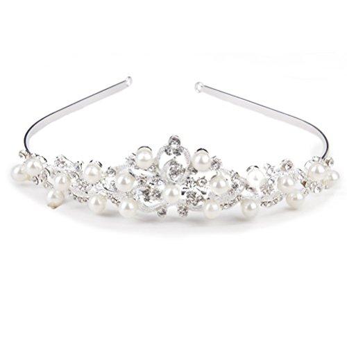 ROSENICE Diadème Couronne Serre Tête Tiare avec Strass Cristal Perle Fleur (Argent)