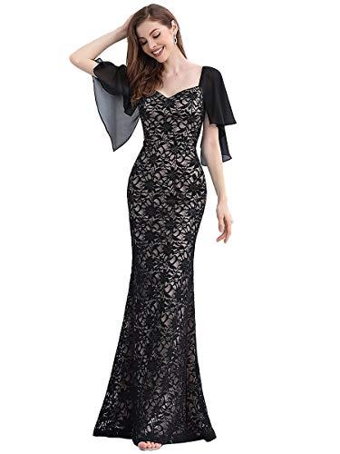 Ever-Pretty Sirène Robe de Soirée Longue Femme en Dentelle en Mousseline Col V Manches Courtes à Volants Grande Taille Élégante Noir 36